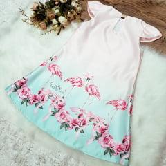 Vestido Infantil Casual Flamingos