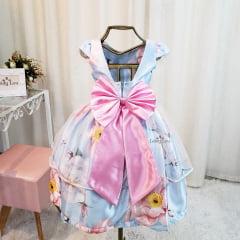 Vestido Festa Infantil Floral Tule