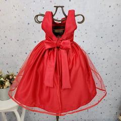 Vestido Festa Infantil Vermelho Natal