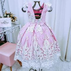 Vestido Festa Infantil Luxo Rosa Cha