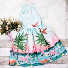 Vestido Festa Infantil Dinossauro
