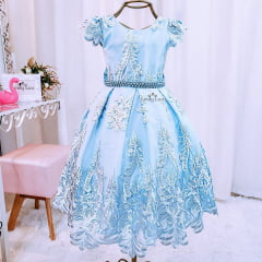 Vestido Menina Festa Azul Luxo