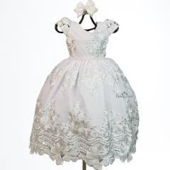Vestido Menina Festa Branco Luxo