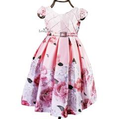 Vestido Menina Festa Rosa Floral
