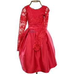 Vestido Menina Festa Vermelho Manga Comprida