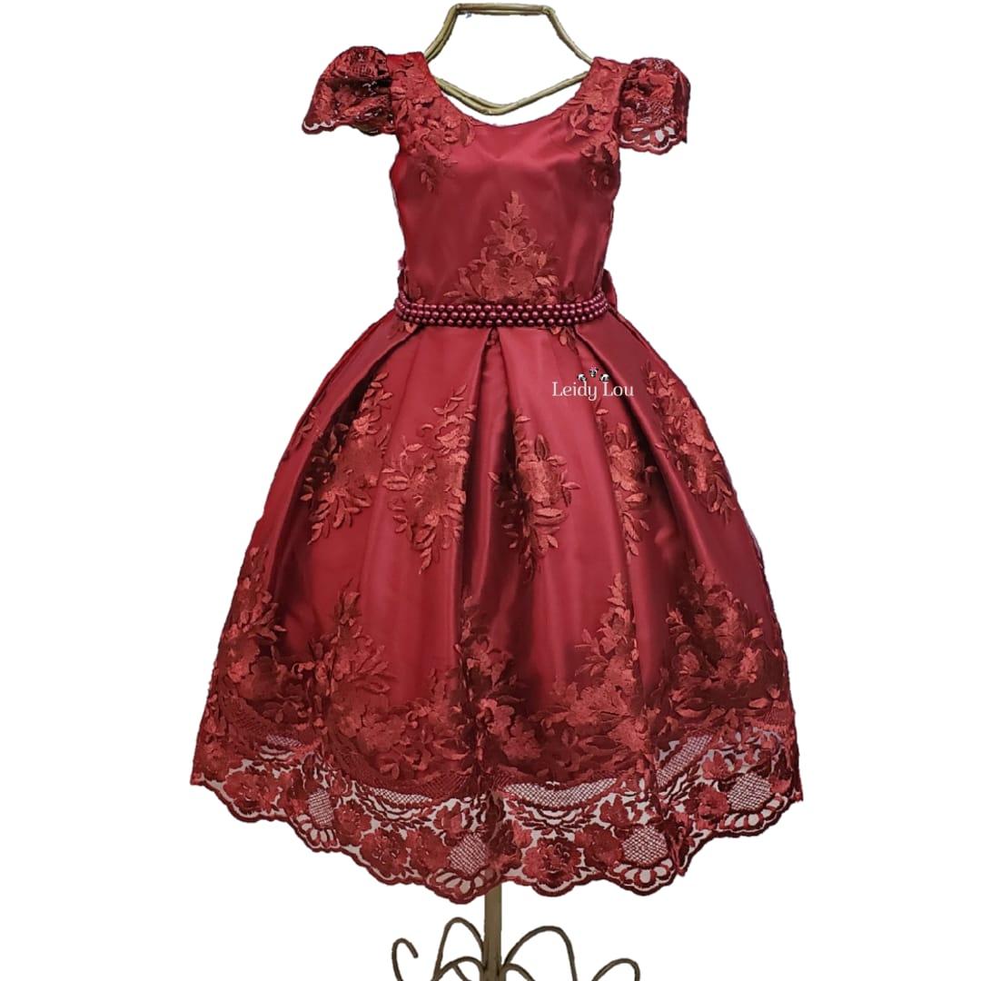 Vestido Festa Infantil Marsala